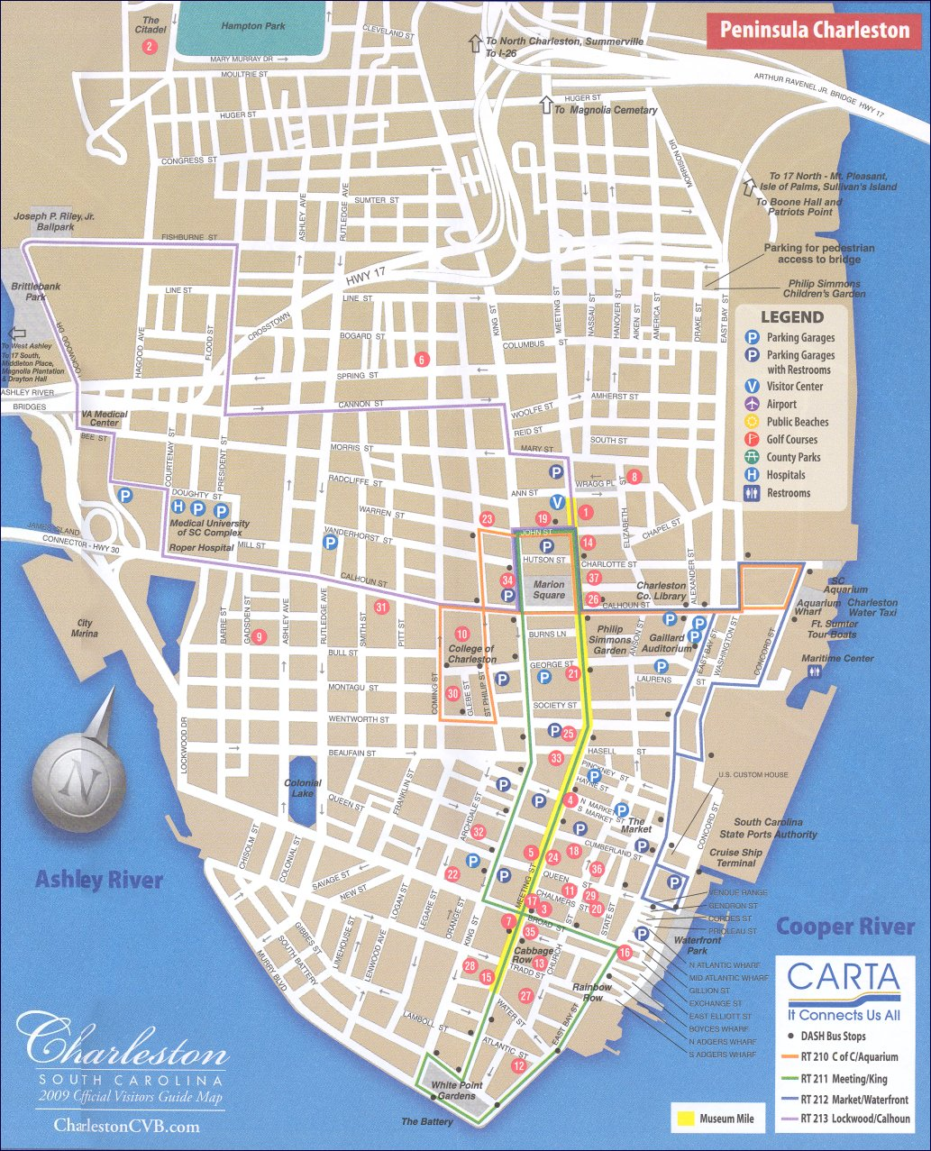 Map of downtown Charleston Charleston South Carolina – Tourist Attractions Map In South Carolina