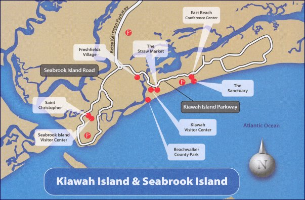 Kiawah and Seabrook Islands SC Area Map on