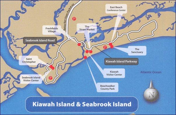 Kiawah And Seabrook Islands Sc Area Map
