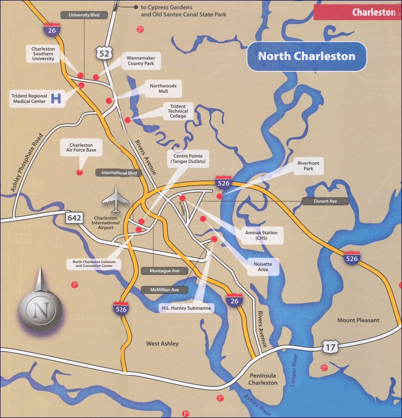 Map of North Charleston SC South Carolina Charlestons Finest – Tourist Attractions Map In South Carolina