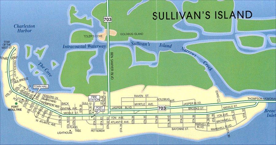 South Carolina Map Islands.Sullivan S Island Map Sc